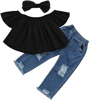 Littleice Toddler Kids Baby Girls Off Shoulder Crop Tops + Hole Denim Pant Jean Headband Outfits Clothes Set Black