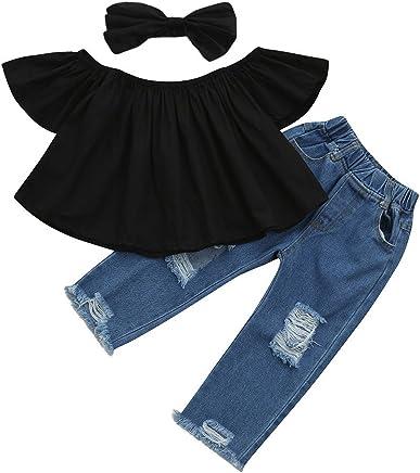 a5a8140ba71 Littleice Toddler Kids Baby Girls Off Shoulder Crop Tops + Hole Denim Pant  Jean Headband Outfits