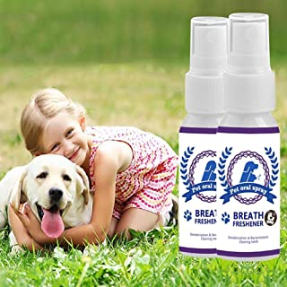 MUGBGGYUE Désodorisant pour animal domestique, 30 ml, nettoyant buccal portable, spray de soins de santé, déodorant bouche...