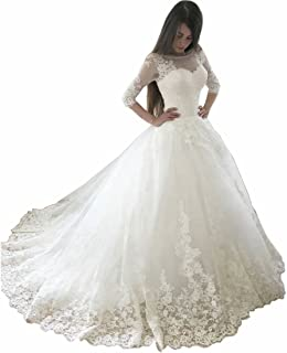 DingDingMail Charming Scoop Neck Lace Ball Gown Wedding Dress 2019 Illusion Half Sleeves Princess Wedding Bridal Gowns