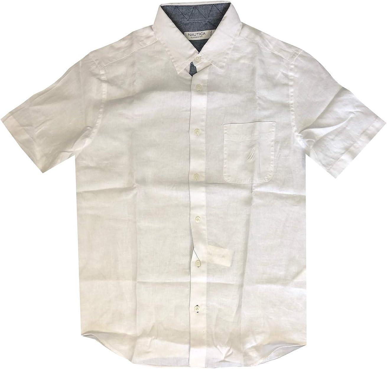 Nautica Mens Classic Fit Short Sleeve Chest Pocket Linen Shirt