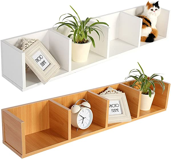 Yosooo CD DVD Storage Shelf Modern Wall Mount Display Shelf CDs DVDs Organizer Storage Rack Wooden Unit 4 Cases White