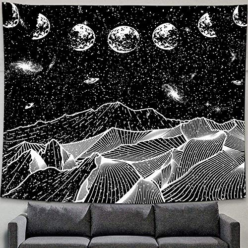 """Moon Mountain Tapestry Star Tapestry Starry Night Sky Tapestry Black and White Mountains Art Tapestry Wall Hanging for Bedroom Room Dorm Home Decor Large Tablecloths Trippy Poster Painting 40""""x60"""""""