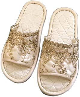 Women Girls Embroidery Lace Open Toe Non-Slip Home Slippers House Shoes, Beige