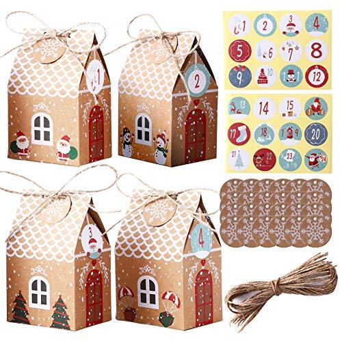 Herefun Cajas de Regalo Navidad, 24Pcs Calendario de Adviento Navidad, Bolsa para Calendario de Adviento, Bolsa de Regalo con 24 Pegatinas para Navidad, Fiesta de Cumpleaños