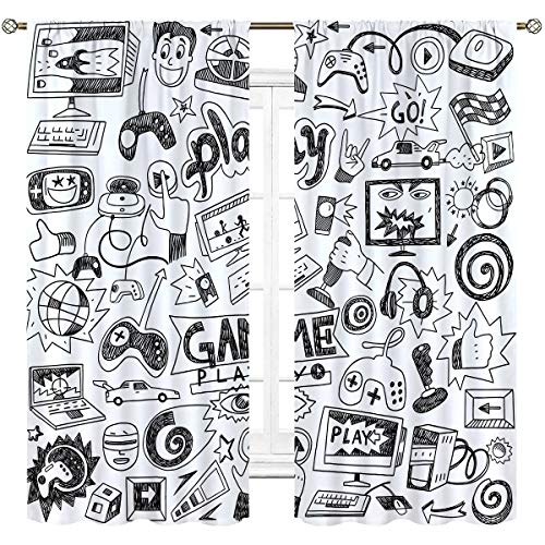 Cinblue Kids Video Games Curtains Gaming Rod Pocket Black White Boys Racing Monitor Device Gadget Teen 90's Art Printed Living Room Bedroom Window Drapes Treatment Fabric 2 Panels 42 (W) x 63(L) Inch