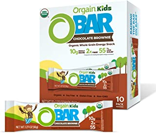 Orgain Organic Kids Energy Bar, Chocolate Brownie - Great for Snacks, Vegan, 7g Dietary Fiber, Dairy Free, Gluten Free, Lactose Free, Soy Free, Kosher, Non-GMO, 1.27 Ounce, 10 Count