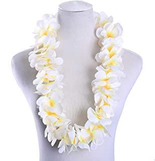 Pack of 4 Hawaiian Leis Necklace Tropical Luau Hawaii Wreaths Silk Flower Lei Thickened Dance Garland Flower Leis for Party Favor Hula Hawaiian Party Supplies (White, 4)