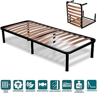 comprar comparacion EvergreenWeb - Somier Cama Plegable Individual 90 x 190 con somier de Madera ortopédico, Estructura portante Completamente...