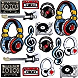 PAGOW 16Pcs Iron on Patches for Jackets Hip hop, Music Series Embroidery Patch Suitable for Clothes Dress Hat Pants Shoes Curtain, DIY Embroidery Patch Sewing Craft Decoration