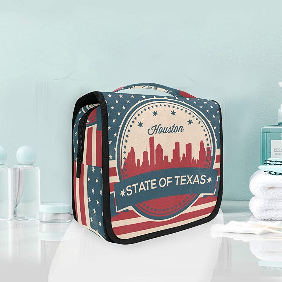 Texas State Houston Skyline Large Hanging Toiletry Bag Waterproof Cosmetic Bag Makeup Travel Pouch Purse Organizer Wash Gargle bag
