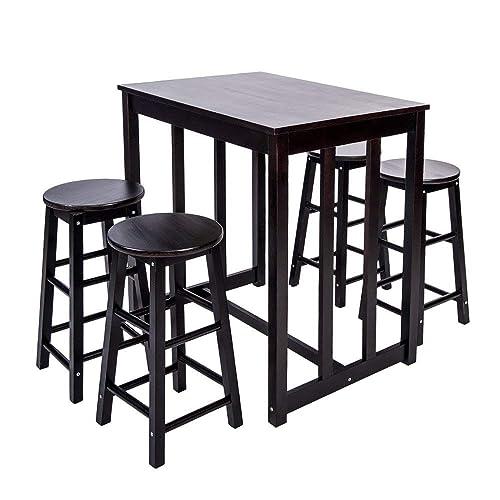 Merax 5-piece Dining Table Set High/Pub Table Set with 4 Bar Stools (Espresso)