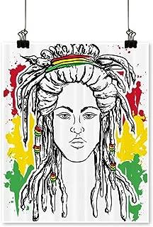 for Home Decoration Grunge Ethiopian Flag Colors a Black White Sketchy Girl for Home Decoration No Frame,24