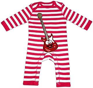 HARIZ HARIZ Baby Strampler Streifen E-Gitarre Lachend Instrument Kind Lustig Plus Geschenkkarten Feuerwehr Rot/Washed Weiß 3-6 Monate
