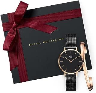 Daniel Wellington Gift Set Classic Petite Ashfield Black Watch Rose Gold 28mm + Bracelet RG Small