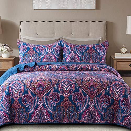 NEWLAKE Cotton Bedspread Quilt Sets-Reversible Patchwork Coverlet Set, Purple Classic Floral Pattern, King Size