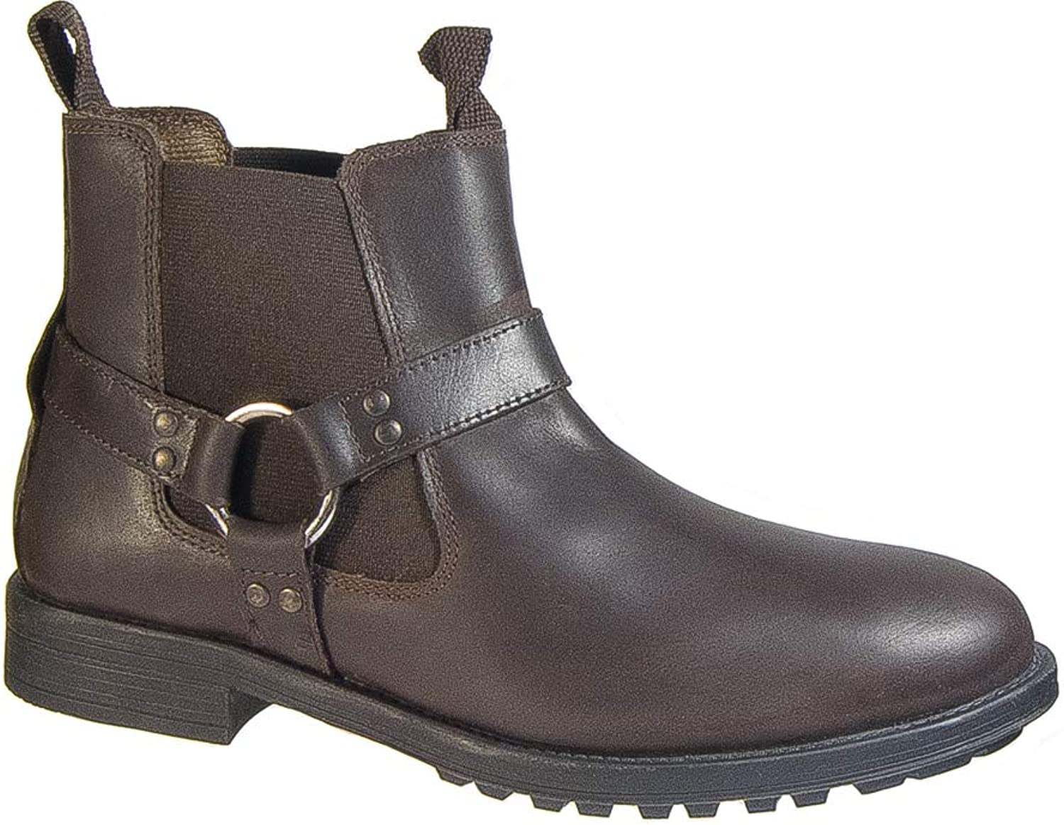 Roamers. Mens Waxy Brown Leather Harness Twin Gusset Ankle Boot Slip On