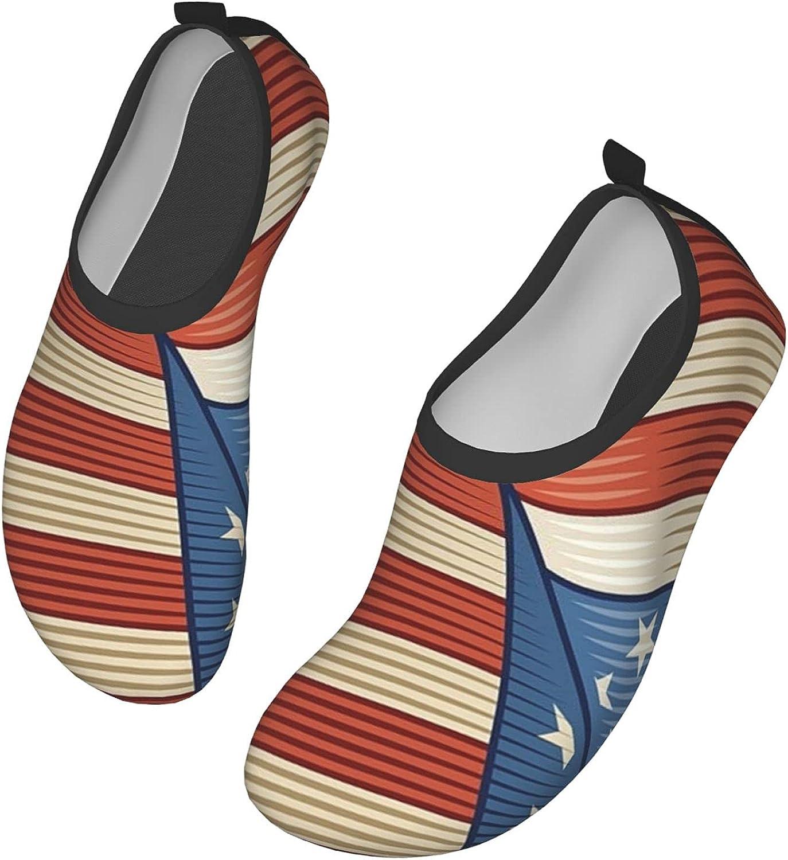Vintage American Flag Water Shoes Quick Dry Swim Aqua Barefoot Socks for Women Mens Sports Walking Yoga Water Shoes