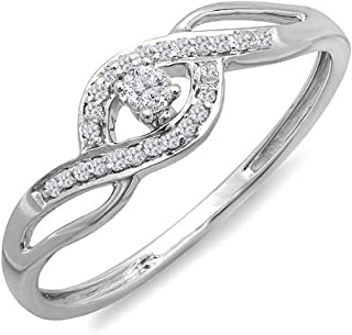0.15 Carat (ctw) 10k Gold Round Cut Diamond Ladies Criss Cross Engagement Bridal Promise Ring
