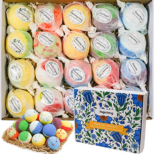 Bath Bombs Gift Set, 20 Wonderful Fizz Effect Handmade Bath Bombs for Valentine's Day, Christmas,...
