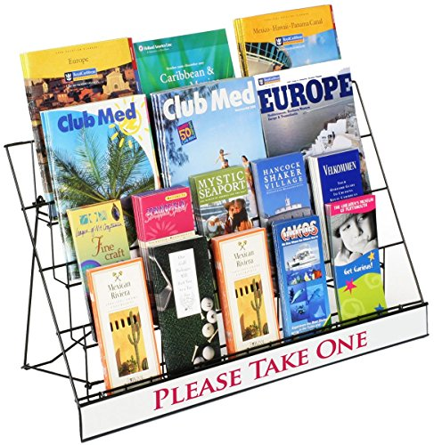 Countertop Display Rack for Literature, 4 Open Tiers Work with Magazines and Brochures, Each Level Holds up to (3) 8.5x11 Magazines - Black Wire