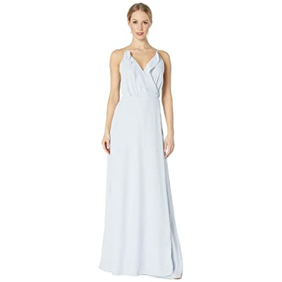WAYF The Jamie Lace-Up Back Ruffle Cross Front Gown (Ocean Mist) Women