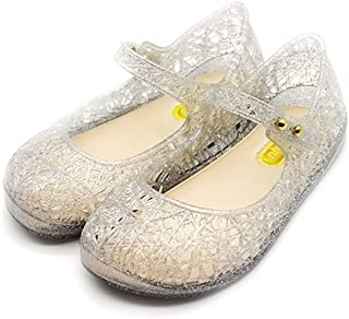 Toddler Girls Mary Jane Flat Jelly Shoes White Dots Kid's Sandals (Comes with 1 Pair of Bows Tie)