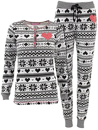 Love Loungewear Juniors Fireside White Snowflake Pajamas L