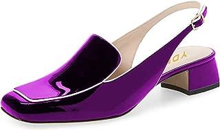 Women Closed Square Toe Block Low Heels Slingback Formal...