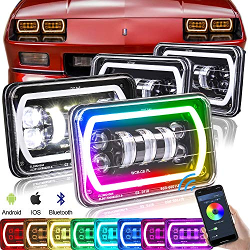 SEUYA 4x6 LED Headlights Sealed Beam Headlights with RGB Halo Ring Music Mode Bluetooth Remote Control Replacement H4651 H4652 H4656 H6545 Truck Chevrolet Kenworth Oldsmobile Ford Peterbilt 4PCS