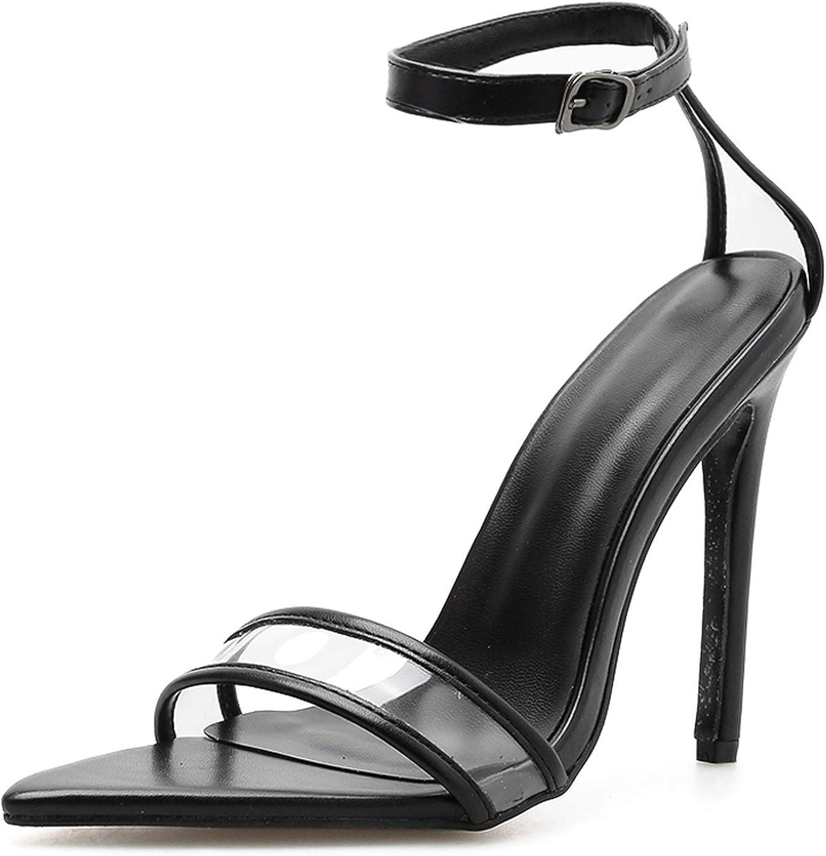 Summer PVC Women's shoes Ladies Sandals Open Toe Buckle Strap Concise Thin Heels Pumps,Black,7