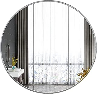 L-KCBTY Miroir Mural - Miroir De Maquillage Ronds - Miroir Salle Bain Rond,avec Cadre en Aluminium,Pas Facile À Casser,Or/...