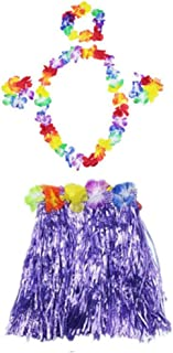 5pcs Set Girl's Elastic Hawaiian Hula Dancer Grass Skirt with Flower Wristband Garland Headband
