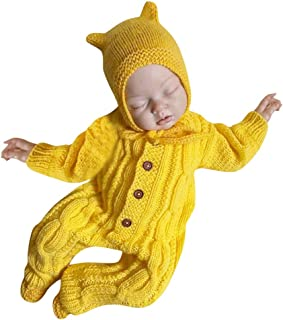 Newborn Infant Romper+Hat Knitted Baby Boys Girls Sweater Crochet Winter Warm Jumpsuit Hats Set Outfits Clothes