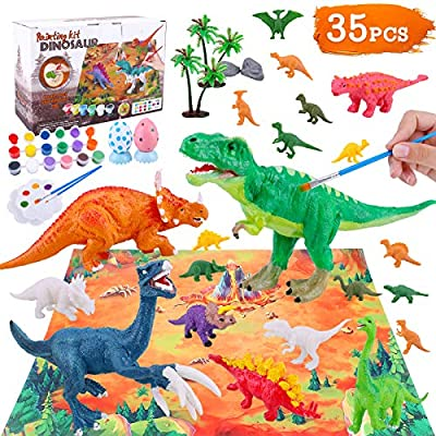 Anwiner Dinosaur World Set Painting Kit - 35 Pcs Dinosaur Arts and Crafts Set for Boys Girls Age 4 5 6 7 8Years Old Kid Creativity DIY Gift Easter Paint Your Own Dinosaur Animal Set