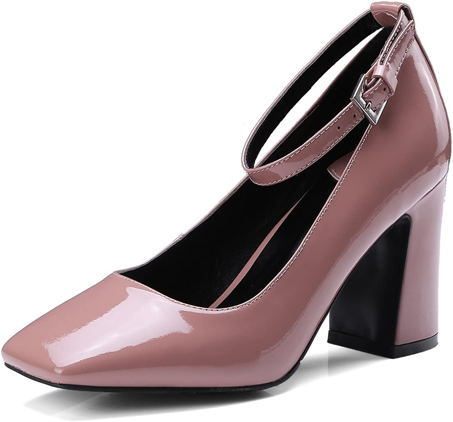 Dulce Diva Patent Leather Square Toe Chunky High Heel Ankle-Strap Pump shoes for Women Office