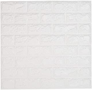 LEISU 3D Ladrillo Pegatina Pared Autoadhesivo Panel Pared Impermeable 3D DIY Wall Stickers Moderno Blanco Decorativo pare Cocina, baño, sala de estar, dormitorio, oficina, fondo TV 60*60CM (10 pack)