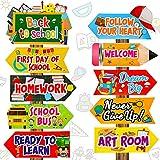 20 Letreros de Fiesta de Back to School Señales Direccionales de Back to School Cartel de First of Day of School Welcome para Pared Exterior Patio Suministros para Fiesta para Foto Props