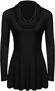 Women's Soft Cowl Neck Long Sleeve A-Line Causal Tunic Top