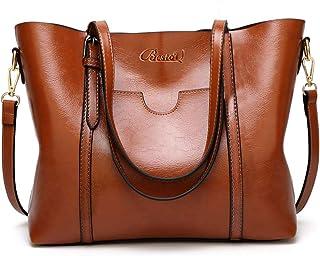 BestoU Damen Handtasche Leder Tasche Shopper Damen Handtaschen Groß Schule Schultertasche Frauen Umhängetasche Braun