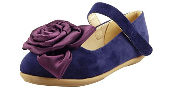 The Doll Maker Girls Flower Bow Top Mary Jane Suede Flat FBA1411112-P