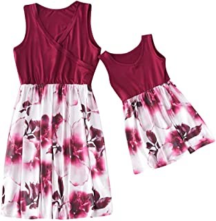 dbfc71ade61 Fiaya Mommy and Me Daughter Matching Dress Cotton Sleeveless Sunflower  Print O-neck Family Outfit