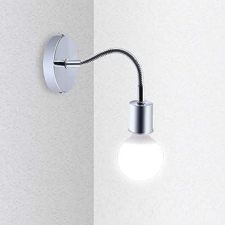 Bonlux Lámpara de pared con casquillo E27 flexible de cuello de cisne de acero inoxidable, lámpara para lectura en la mesita, luz nocturna, espejo de baño, pasillo, lámpara de techo