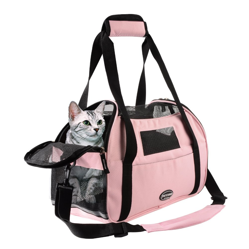 Wanfei Small Pet Carrier, Airline Approved For Small Dogs Cats Puppy and Rabbit Foldable Travel Transport Bag With Fleece Mat (Pink)