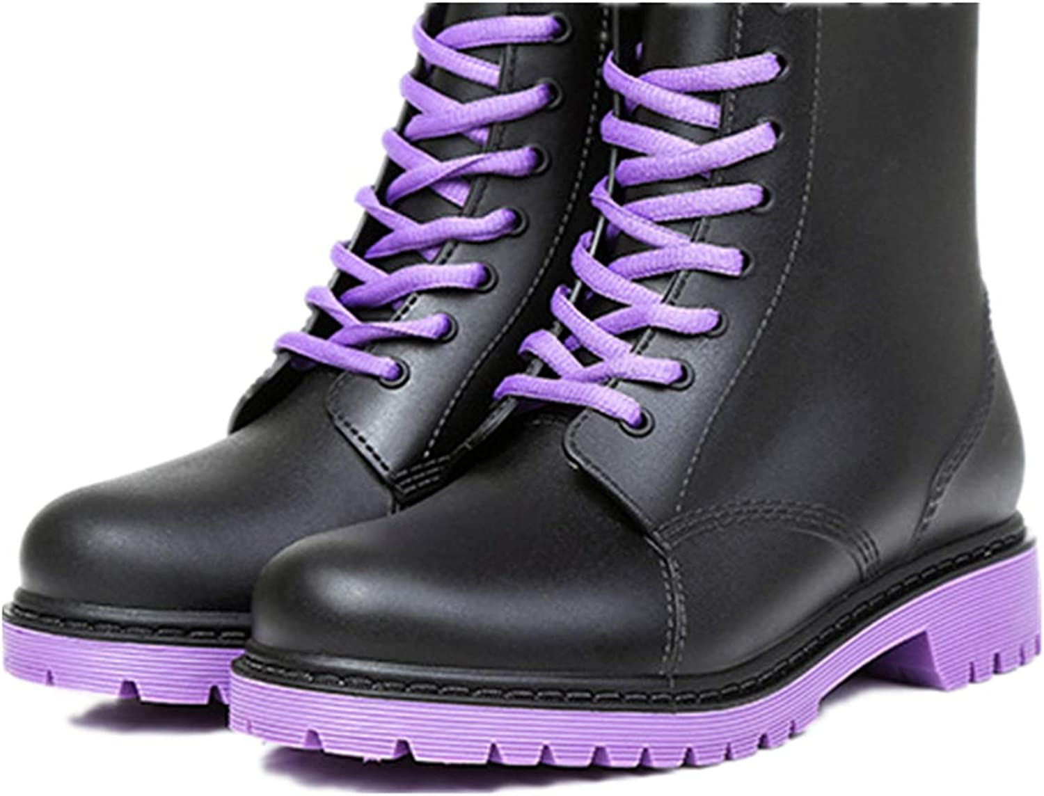 Super color Women's Waterproof Rain Boots Lace up Fashion Non-Slip Rubber Snow shoes Garden Booties