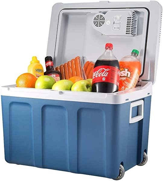 Knox Electric Cooler And Warmer For Car And Home With Wheels 48 Quart 45 Liter Holds 60 Cans Or 6 Two Liter Bottles And 15 Cans Dual 110V AC House And 12V DC Vehicle Plugs