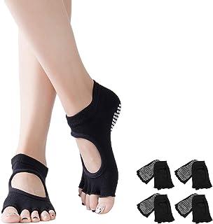 DOSNTO, 4 pares Calcetines de Yoga para Mujer, Calcetines Antideslizantes de Suela Adherente, Calcetines de Yoga con Dedos para Pilates con absorbe el sudor,ideales para yoga & fitness