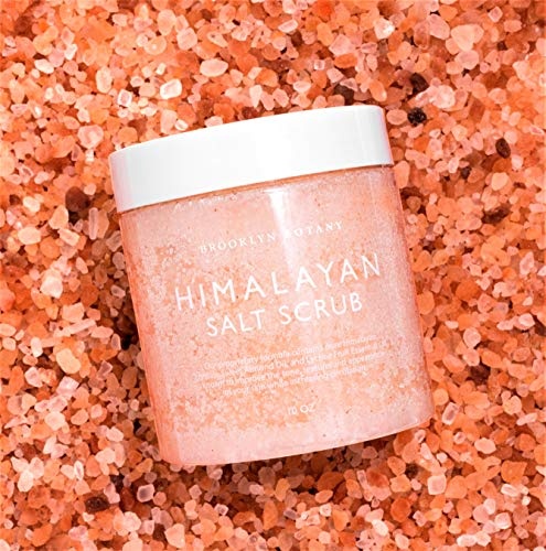 Brooklyn Botany Himalayan Salt Exfoliating Body Scrub & Foot Scrub - All Natural Exfoliator, Moisturizes With Sweet Almond Oil - Scrub Away Dead Skin - Great Gifts For Women - 10 oz