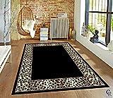 "Champion Rugs Leopard Skin Black and White Border Area Rug Animal Print Carpet (3' 11"" X 5' 2"")"