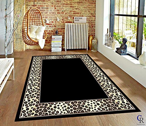 "Modern Animal Print Leopard Safari Bordered African Carpet Area Rug (5' 3"" X 7' 5"")"